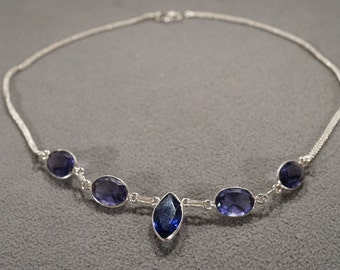 Vintage Sterling Silver Bib Design Necklace Chan 5 Oval Marquise Bezel Set Iolite Lavaliere Style      #1207