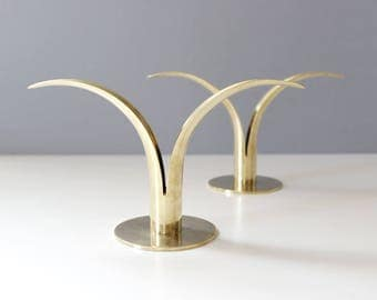 1 Available - Ystad Sweden Brass Lily Candle Holders Mid Century Modern