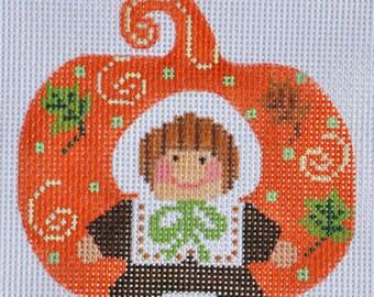 Needlepoint Handpainted Thanksgiving Danji PUMPKIN Pilgrim Girl 3x3 -Free US Shipping!!!