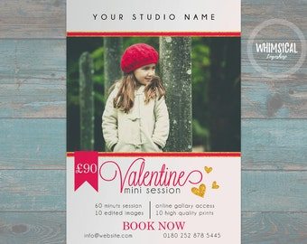 "Valentine's Mini Session Template for Photographers - 7""x5"" print - psd template- eps pdf - editable file- gold glitters and red ad template"