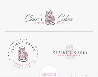 Bakery and cake 1, elegant emblem soft pastel look homemade bakery branding feminine design whimsical cake drawing logo shop sign design