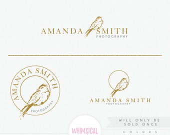 OOAK Artistic Sketchy Bird 1- hand sketched logo - exclusive logo - branding kit products logo sketchy  photographer logo branding- artistic