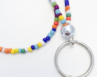 cute lanyard, lanyard, badge holder, teacher lanyard, id badge, beaded lanyard, keychain, id badge holder, colorful necklace