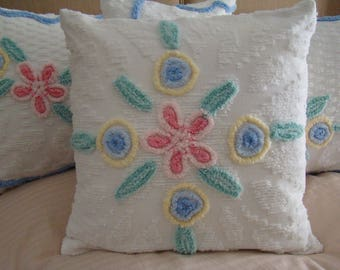 "REDUCED PRICE-White Chenille Pillow Cover With Floral Medallion Design for 18"" Pillow Insert Was 30.00 Now 25.00"