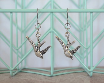 Silver Swallow Bird Earrings on Titanium Hooks - Swallow Bird Jewelry and Accessories