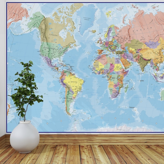 Giant world map mural blue ocean wall decal map like this item gumiabroncs Images