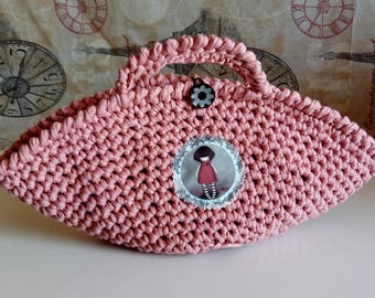 Pink crochet basket