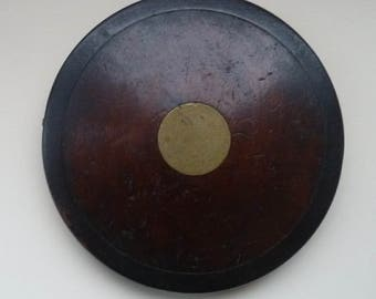 Antique Victorian / Edwardian Wooden & Brass Discus. Excellent Condition. Collector's Item