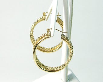 Hoop Earrings 14K karat Gold Large Rope and Tube Dangles Double Bold Pierced Carat