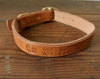 Stamped Leather Dog Collar