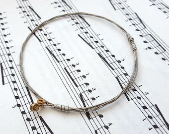 Guitar string bracelet bangle, Size S, guitarist, guitar player, cool music rock jewellery (70mm diameter)