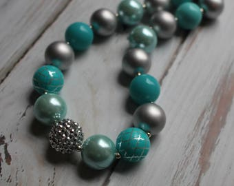 Teal, Silver, Teal & Silver Necklace, Bubblegum Necklace, Chunky Necklace, Girls Necklace
