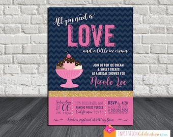 Ice Cream Bridal Shower Invitation - All You Need is Love - Navy Pink Gold Glitter - Chevron - Choose Digital or Printed w/Envelopes