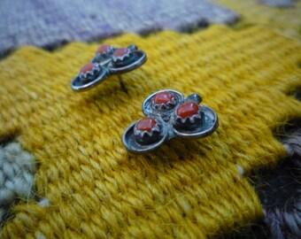 Vintage Zuni Native American Coral Snake Eye Sterling Silver Post Earrings