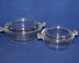 GLASS PYREX BOWLS with Lids 019 and 018