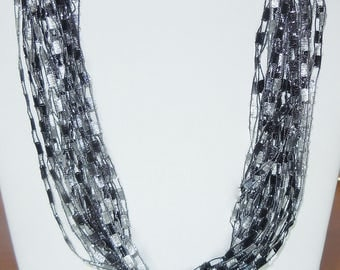 Trellis Scarf Necklace in Shades of Black and Gray with Silver Metallic  (SKU 105)