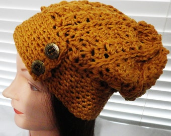 Pumpkin Crochet Slouchy Hat, Holiday Hat, Autumn Hat, Stylish Hat, Trendy Hat, Winter Hat, Women's Fashion Hat, 100% Merino Wool Hat