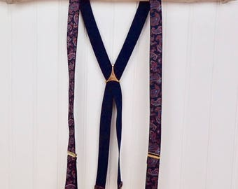 Navy Blue & Maroon Red Paisley Suspenders Halloween Costume Stretch Elastic Braces Men' or Women Accessory Hipster Style