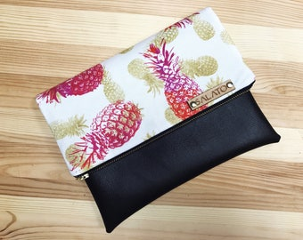 Fold over clutch, Pink Pineapple Clutch, faux leather clutch, vegan leather clutch, pineapple bag, handbag, summer clutch, Pink Pineapple