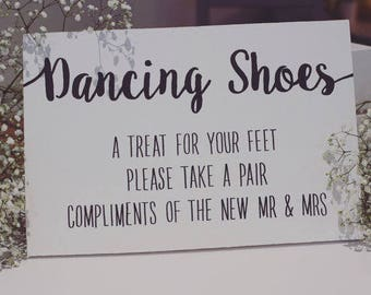 Dancing Shoes hand painted wooden wedding sign