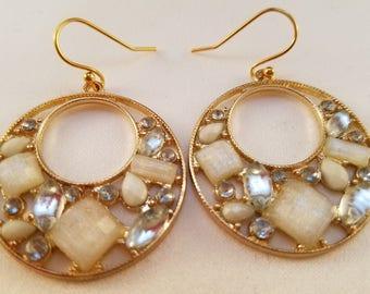 White and crystal hoop earrings