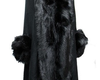 Faux Fur Trimmed Shawl, Faux Trim Open Poncho, Knit Open Poncho, Knit Open Poncho, Fur Poncho, Open Poncho, Resort Poncho, Gift for Her,