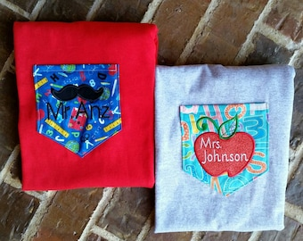 Teacher's appliquéd apple and monogrammed pocket tees (pocket fabric options in photos)