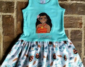 Girls Appliquéd Moana Dress with Embroidered Name