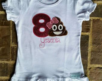 Girl's Poop Emoji Shirt with Name and Birthday Number