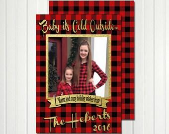 Christmas Card, Photo Card, Buffalo Plaid Card, Christmas Chalkboard, Christmas, Holiday,  Invitation, Card, Photo