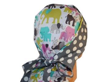 Surgical Scrub Hat Medical Cap Nurse Vet Dr Front Fold Ponytail Scrub Hat Elephants Grey Dots 2nd Item Ships FREE