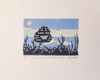 Mini linocut, watercolor by Carolyn Votaw - Pacific Northwest Ferry / Edmonds WA - 3x2 on 5x7 paper, hand-carved-painted-printed