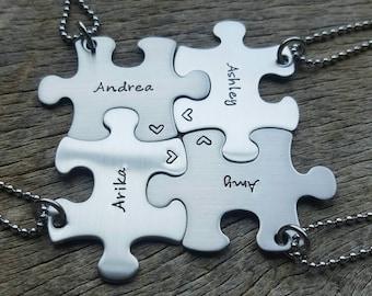 Customizable Puzzle Piece Name Necklace  Personalized Hand Stamped Customizable Necklace Bridesmaid Graduation Best Friends