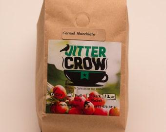 Caramel Macchiato  Flavored Gourmet Coffee -  12 oz - Dessert Coffee.  Comfort Coffee. Hostess gift.