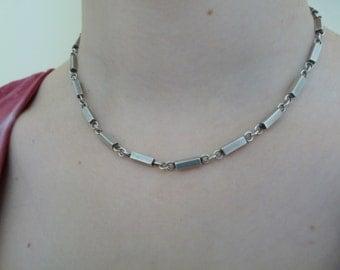 Swedish sterling silver vintage modernist mid century modern designer womens or mens bar necklace 1960s