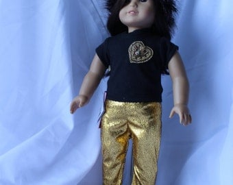 Shine Anytime Gold Pants with Black Top and Handmade Hat