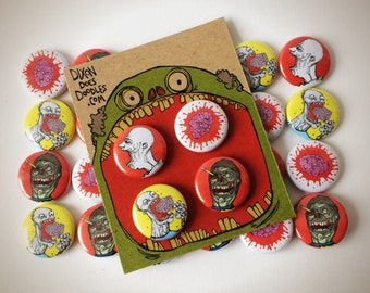 ZOMBIES! 4 pack of zombie pinback badges.