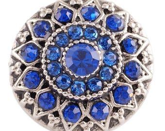Beautiful CZ Blue Stone Flower Silver - Snap It SKC7084 Popper Chunk Snap Button Interchangeable 18mm 20mm snap