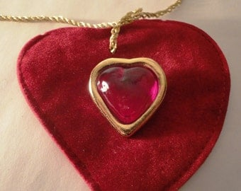 Yves Saint Laurent red and gold toned heart pin brooch, YSL brooch