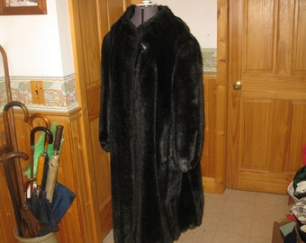 Plush Glam girl Mirage Outerwear long mink faux fur coat in lady xl-xxl check measurement immaculate gorgeous dark mink