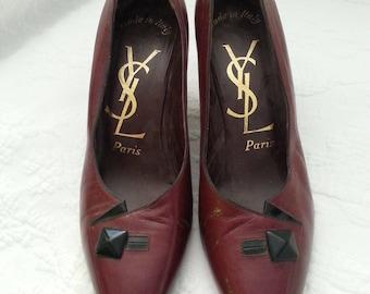 Vintage Yves Saint Laurent Paris leather heels shoes size 6 1/2 M