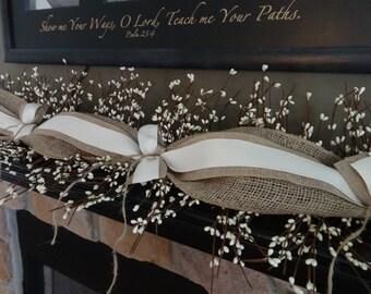 Mantel Decoration, Mantel Garland, Natural Burlap Garland, Summer Garland, Year Round Garland
