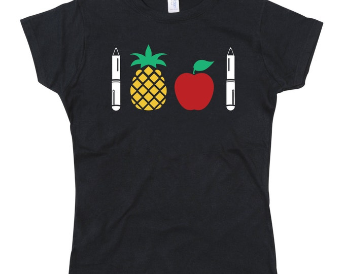 Ladies PPAP Pen Pineapple Apple Tshirt