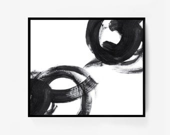 Extra Large Wall Art, Black White Abstract, Large Abstract Painting, Extra Large Art, Black White Abstract Print, Minimal Painting, Framed