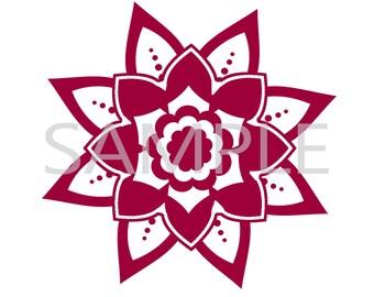 Mandala vinyl decal, car sticker, laptop sticker, floral sticker, flower sticker