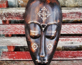 Hand Carved Inlaid Mother of Pearl Wooden Mask Sculpture