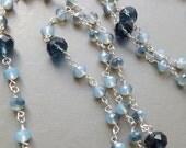 Ultra long necklace . glass crystal blue opalite glass bead silver tone flapper glam handmade jewellery