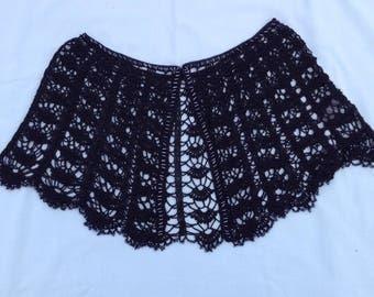 Vintage Black Crochet & Beaded Shoulder Cape