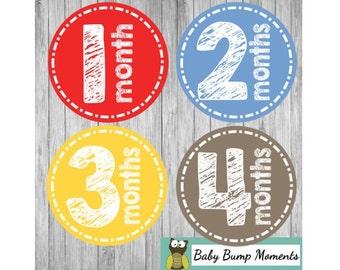 Baby Milestones, Baby Boy Month Stickers, Monthly Baby Stickers, Milestone Stickers, New Baby Gift, Growth Stickers, Baby Shower Gift
