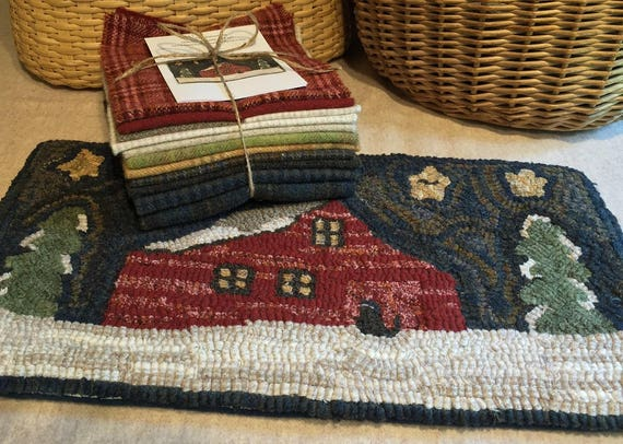 "Primitive Rug Hooking Kit  for Grandpa""s Granary,  10"" x  20""  K129"